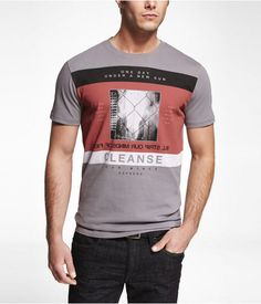 Express Mens Graphic Tee A New Sun Crystal Gray, X Large