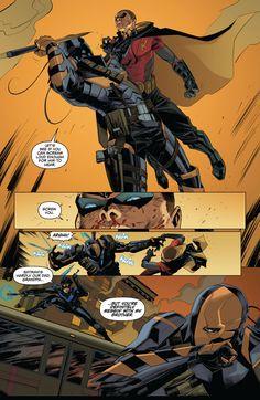 arkham knight genesis issue 2 nightwing,robin (tim and dick) Deathstroke Slade Wilson Hq Marvel, Marvel Funny, Marvel Dc Comics, Robins, Batman Arkham Knight, Batman 2, Batman Universe, Dc Universe, Deathstroke