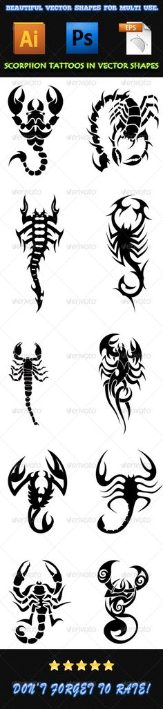 Scorpion Tattoos 01 — Photoshop PSD #ai #icon • Available here → https://graphicriver.net/item/scorpion-tattoos-01/7497170?ref=pxcr
