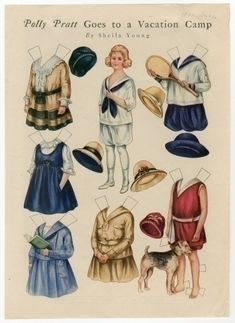 Polly Pratt goes to vacation camp antique paper doll