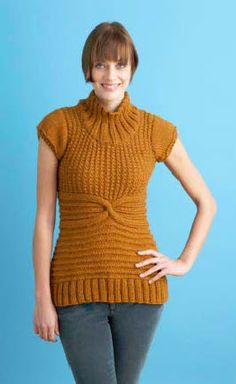 Lion Brand® Wool-Ease® Chunky Ginger Sweater #knit #pattern
