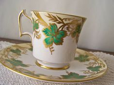 Vintage Teacup and Saucer Royal Chelsea Hand Decorated Green