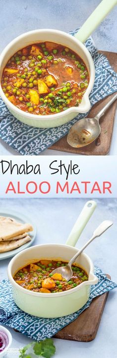 Dhaba Style Aloo Matar ( Potato Peas Curry ) How to make the classic Northindian curry - Dhaba Style Aloo Matar? Aloo Matar Curry served with Rotis often found at the road side dhabas. It is made with chunks of Potates and Shelled Peas simmered in Fla Veg Recipes, Curry Recipes, Indian Food Recipes, Asian Recipes, Vegetarian Recipes, Cooking Recipes, Healthy Recipes, Ethnic Recipes, Healthy Meals