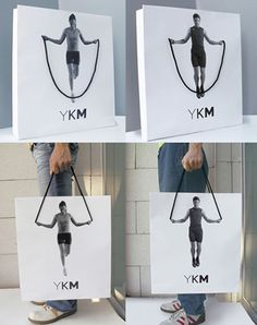 Super simple and eye-catching paper tote bag. I can see this for fitness industry or children's clothing or toys!