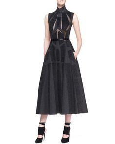 Don't like dresses, but, Donna Karan Sleeveless Artisan Applique Dress, Charcoal Gray