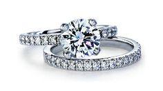 Platinum Pavé Diamond Engagement Ring and Matching Band