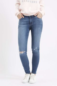 Photo 2 of MOTO Mid-Blue Ripped Leigh Jeans
