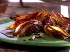 Roasted Balsamic Onions Recipe : Melissa d'Arabian : Food Network - FoodNetwork.com...on top of burgers or steak w/ some blue cheese :)