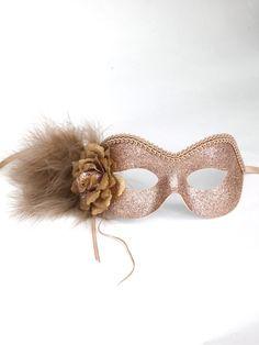 Beautiful Gold & Beige Glitter Masquerade Eye Mask