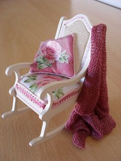 Dollhouse miniature shabby chic rocking chair by JoMed