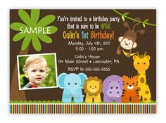 jungle themed 1st birthday party invitations