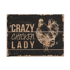 """New Primitive Farmhouse CRAZY CHICKEN LADY Rooster Rustic Wood Sign Picture 18"""" #Unbranded #WallHanging"""