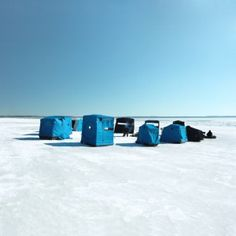 Ice Fishing Shelters on a Lake