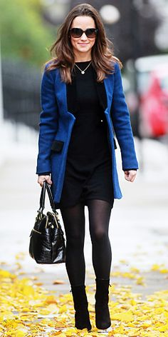 Pippa Middleton headed out wearing her blue Sara Berman velvet trim jacket over an LBD, and she paired the look with black suede booties and her Modalu black bag.
