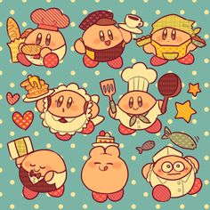 Eight cute Kirbys in culinary uniform