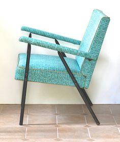 Mid Century Modern Arm Chair Black Metal Aqua Vinyl by ivorybird, $110.00