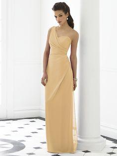 Venetian gold, one-shoulder bridesmaid dress
