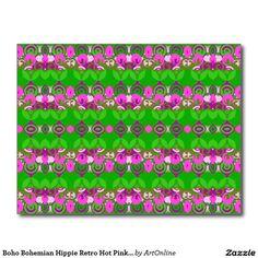 Boho Bohemian Hippie Retro Hot Pink Lime Green Postcard