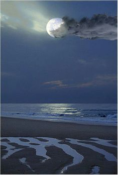 Image result for a break in the cloud moonlight on sea and dunes
