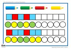Repeating patterns with 2 colours: 4 worksheet activities: pupils continue the patterns using coloured pencils. Layout is uncluttered and visual. Activity could also be laminated and completed using dry wipe markers.