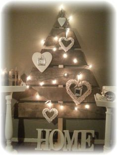 Christmas tree from wood planks! I would make a slimmer, more colorful version- but this one is cute too!