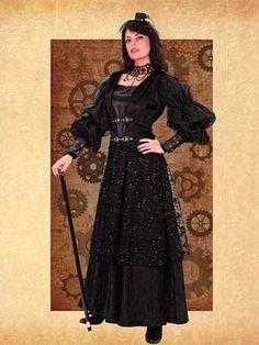 Vintage Black Aristocratic Steampunk Dress