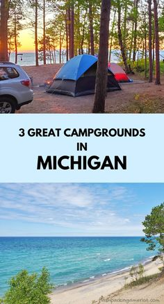 michigan camping ideas. tent camping. rv camping. hiking and camping trip. campground near lake superior beach, great lakes camping. michigan road trip, midwest summer vacation. national lakeshore park vacation ideas. us outdoor travel destinations. vacation spots, places in the US. michigan things to do upper peninsula up north. Lake Camping, Camping Spots, Camping Ideas, Tent Camping, Michigan Vacations, Michigan Travel, Camping Michigan, Vacation Places, Vacation Spots
