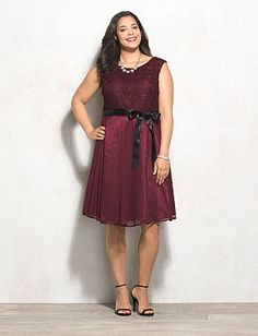 Plus Size Lace Top Belted Fit-and-Flare Dress