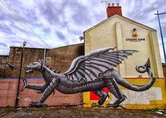 Urban art by British artist Phlegm in Wales #phlegm #graffiti #streetart #art