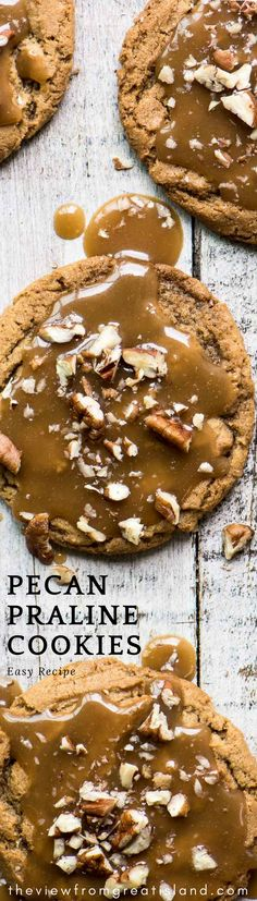 Pecan Praline Cookies ~ these irresistible chewy brown sugar cookies are topped with a layer of caramel pecan praline ~ you won't be able to keep your hands off these! #cookies #praline #caramel #sugarcookies #brownsugarcookies #chewycookies #holidaycookies #Christmascookies #easycookies #bestChristmascookies #frostedcookies #pecancookies #pecans #dessert