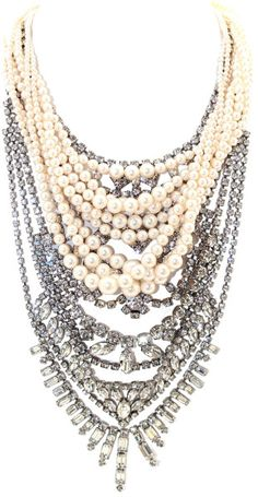 Grande Dame Tangled Pearl and silver statement Necklace - Lyst