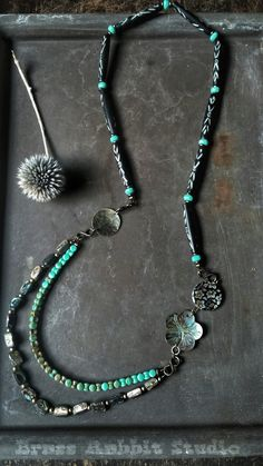 Down by the Bay necklace with abalone beads by BrassRabbitStudio