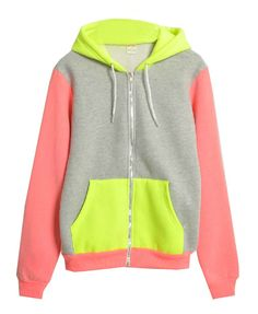 Color Block Drawstring Hoody