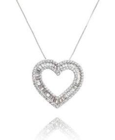 comprar colar de coração com zirconias baguete cristal semi joias da moda