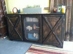 Hand Built Reclaimed Solid Wood Tv Stand Or Entertainment Center Barn Door…