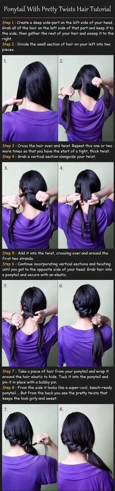 Ponytail with pretty twists hair tutorial :- Follow the following steps for making ponytail with pretty twists hair style.......