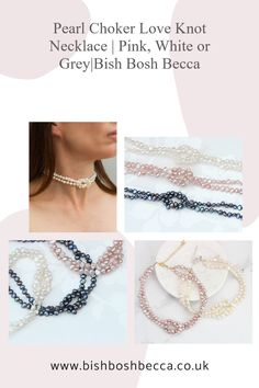 A modern white, pink or grey pearl choker necklace with a hand tied love knot. Finished with a heart shaped clasp in silver or gold. Show your love for her on Valentines or her birthday. #jewellery #necklace #choker #pearl #love #white #pink #grey #valentines #birthday #gift #women Pearl Choker Necklace, Knot Necklace, Rose Gold Chain, Gold Chains, Valentine Hearts, Valentines, Black Gift Boxes, Gold Paper, Pearl Grey