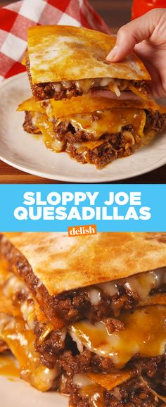 Sloppy Joe Quesadillas are what happens when your two favorite childhood sandwiches become one. Get the recipe from Delish.com.