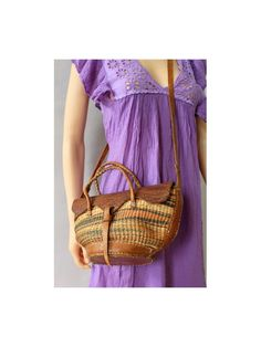 Sisal and leather Bag by lesclodettes on Etsy