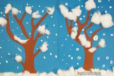 Winterdeko Schneetreiben – aus Tonpapier und Fingerfarbe basteln wir uns einen winterlichen Wald im Schneetreiben. Für Kinder geeignet.