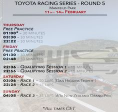 New Zealand Grand Prix - time schedule