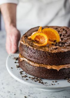 Terry's Chocolate Orange Cake Recipe - Lovely layers of moist chocolate sponge cake, sandwiched with chocolate orange buttercream frosting. It's not Terry's Chocolate Orange Layer Cake Recipe. Food Cakes, Cupcake Cakes, Candied Orange Slices, Candied Fruit, Cake Recipes, Dessert Recipes, Chocolate Orange, Cake Chocolate, Chocolate Frosting