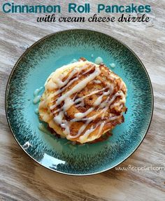 Cinnamon Roll Pancakes with Cream Cheese Drizzle
