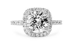 EVA Vintage Cushion Cut Diamond Engagement Ring set in Platinum with white pave-set diamonds by Jean Dousset Square Halo Engagement Rings, Cushion Cut Engagement, Designer Engagement Rings, Engagement Ring Settings, Oval Engagement, Cushion Cut Diamonds, Cushion Diamond, Martha Stewart, Beautiful Rings
