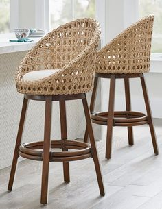 A toast to bringing the super popular airy, open-weave and uncomplicated, rounded design of our outdoor Mason Cocoon Chair inside, with a twist. We've given the Mason stools a full swivel, so as the conversation turns, so can you and your guests.