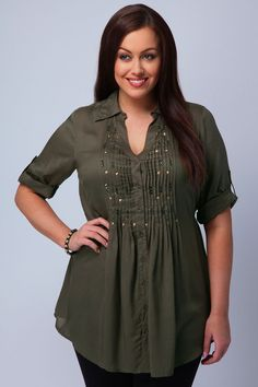 Plus Size Women's Clothing Shirts | Yours Clothing Womens Plus Size Khaki shirt with embellished detail ...
