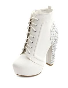 Tonal Stud Lace-Up Bootie
