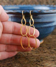Gold oval infinity earrings, long earrings, eternity, interlocking, entwined, gold earrings, linked ovals, bridal bridesmaid, drop earrings on Etsy, $28.00