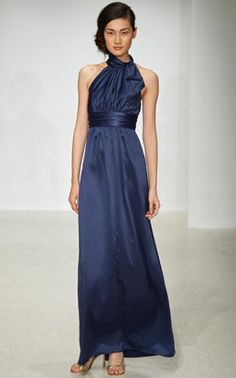 AMSALE BRIDESMAIDS CHARMEUSE G742H SHOWN IN FRENCH BLUE