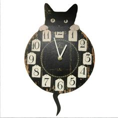 cat kitchen timers | GORGEOUS-CAT-WALL-CLOCK-WITH-PENDULUM-TAIL-DESIGN-KITCHEN-CATS-NEW ...